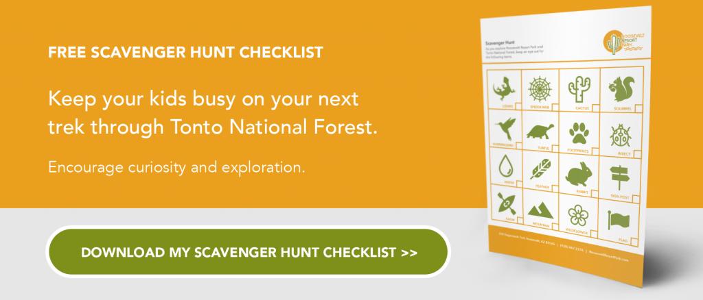 scavenger hunt hiking tonto national forest