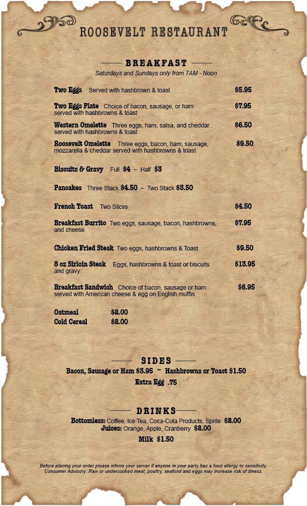 Roosevelt Lake Restaurant Breakfast